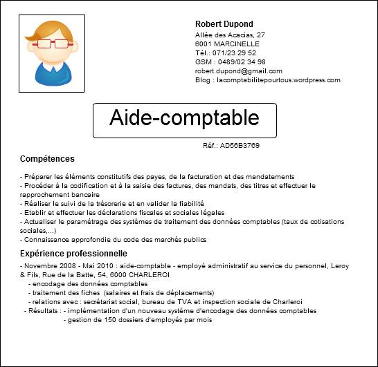 exemple de cv aide comptable d u00e9butant