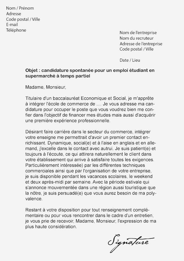 lettre de motivation  u00e9tudiant leclerc