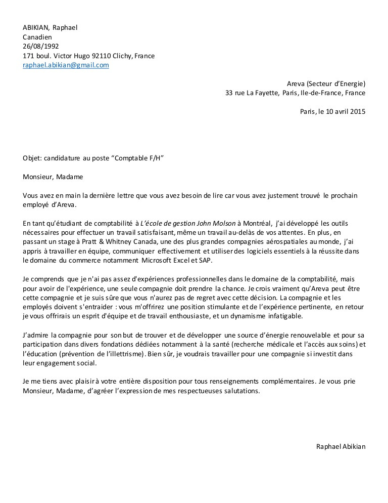 lettre de motivation licence lea