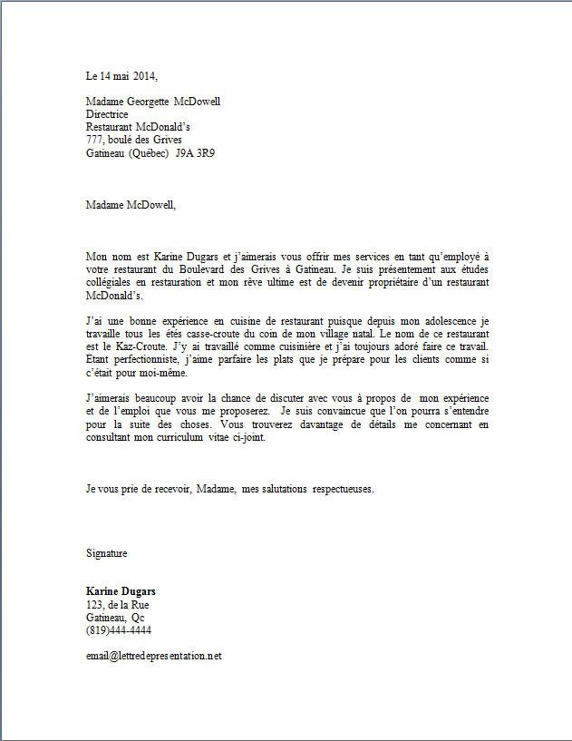 lettre de motivation macdonald job d u0026 39  u00e9t u00e9