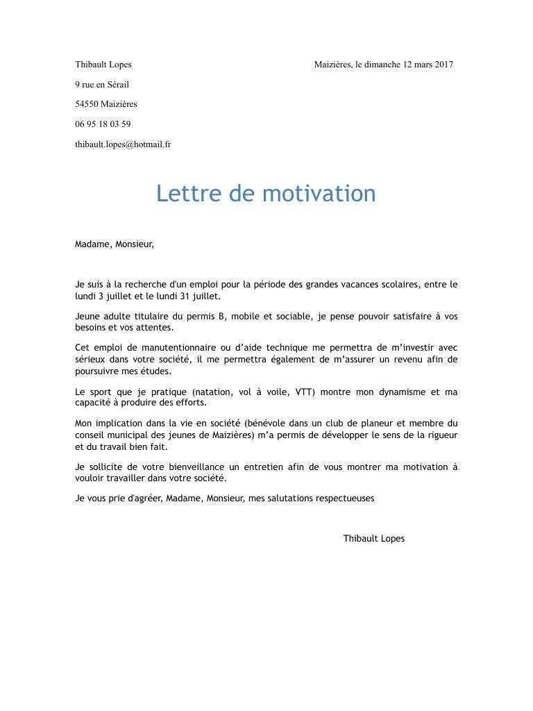 exemple de lettre de motivation manutentionnaire