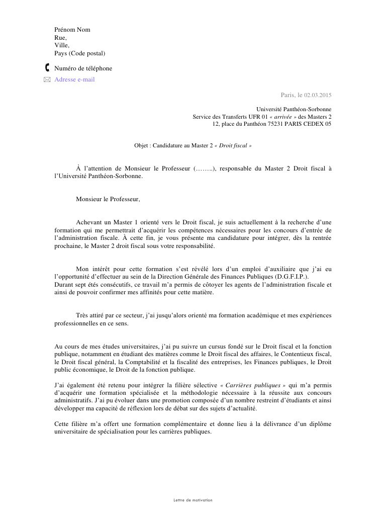 lettre de motivation master 1 management