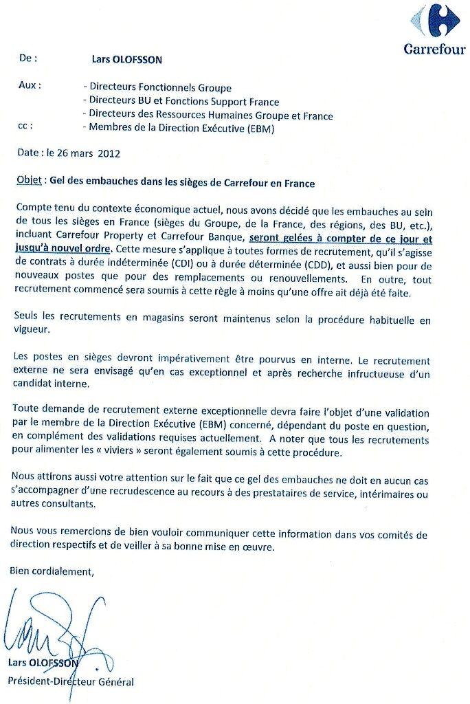 lettre de motivation carrefour mise en rayon