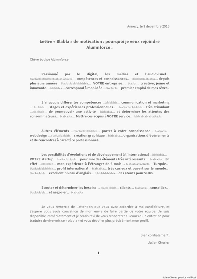 Lettre de motivation traduction espagnol