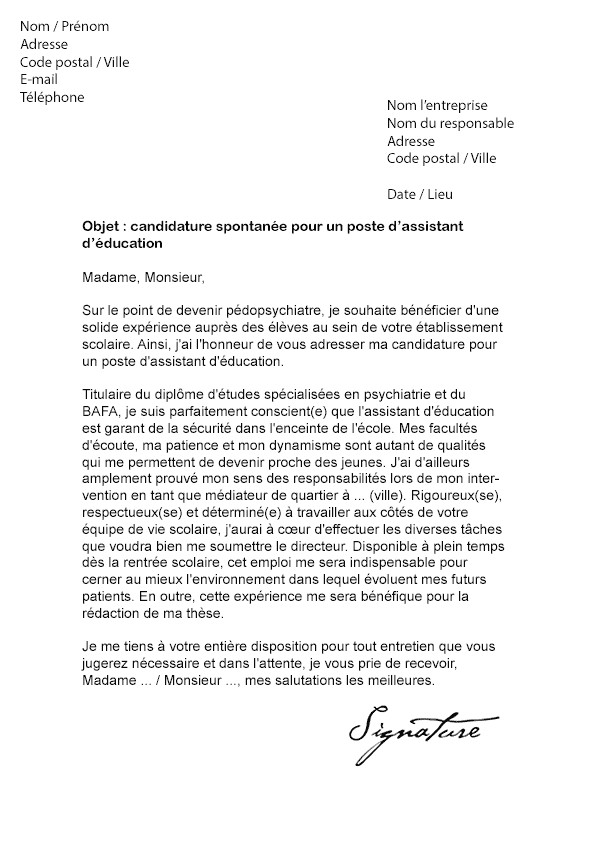 lettre de motivation avs scolaire gratuite