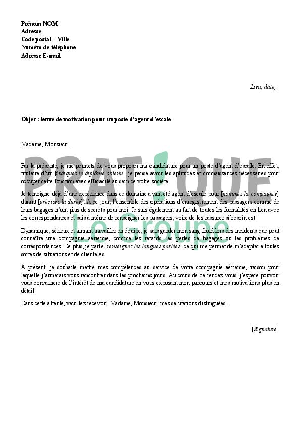lettre de motivation agent d u0026 39 escale sncf