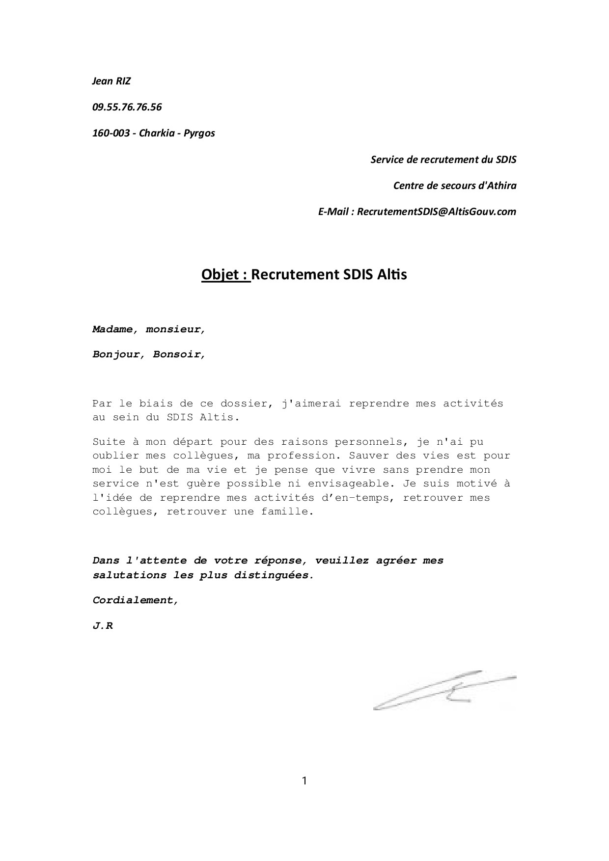 exemple de lettre de motivation pour r u00e9int u00e9gration