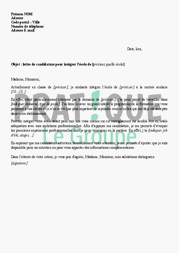 lettre de motivation pour ecole priv u00e9e