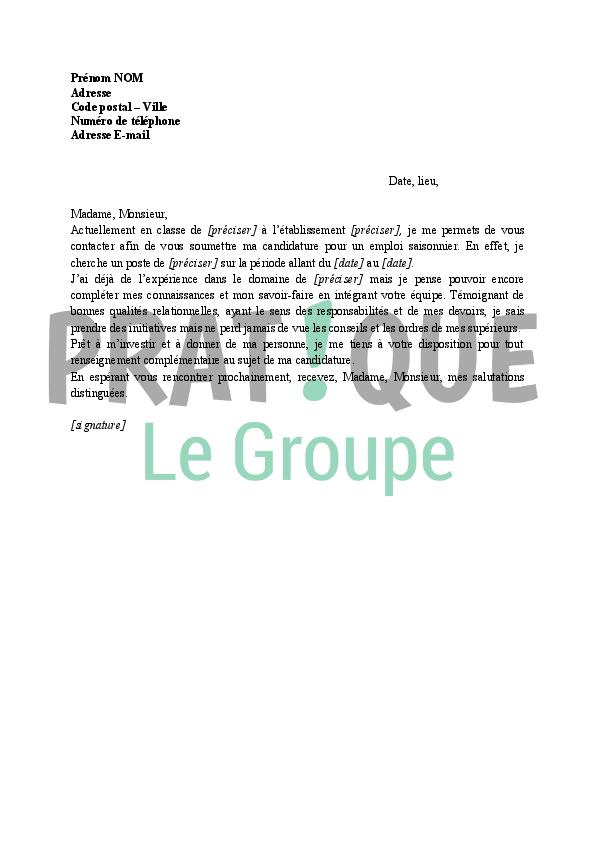 Lettre de motivation pour un job d'été - laboite-cv.fr