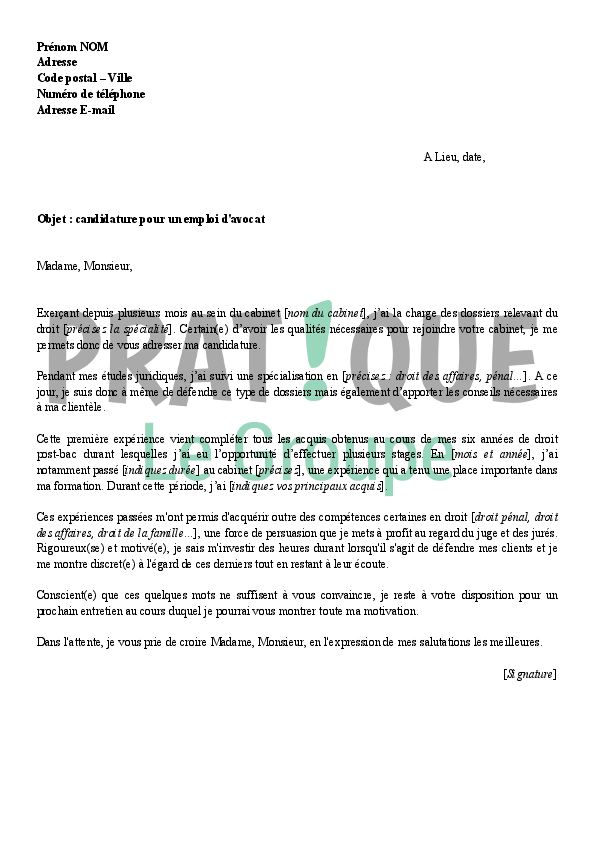lettre de motivation avocat