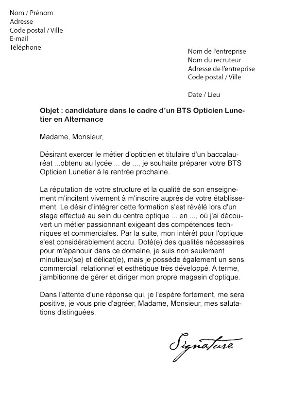 lettre de motivation bts assurance en alternance