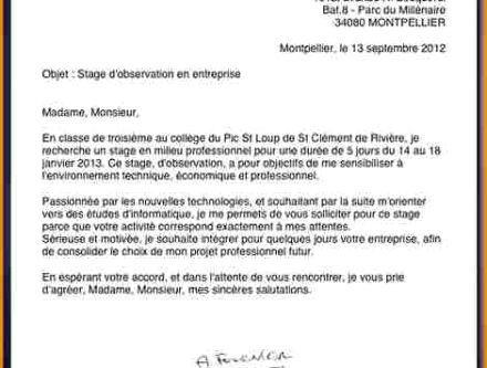 Lettre de motivation stage d'observation 3eme - laboite-cv.fr