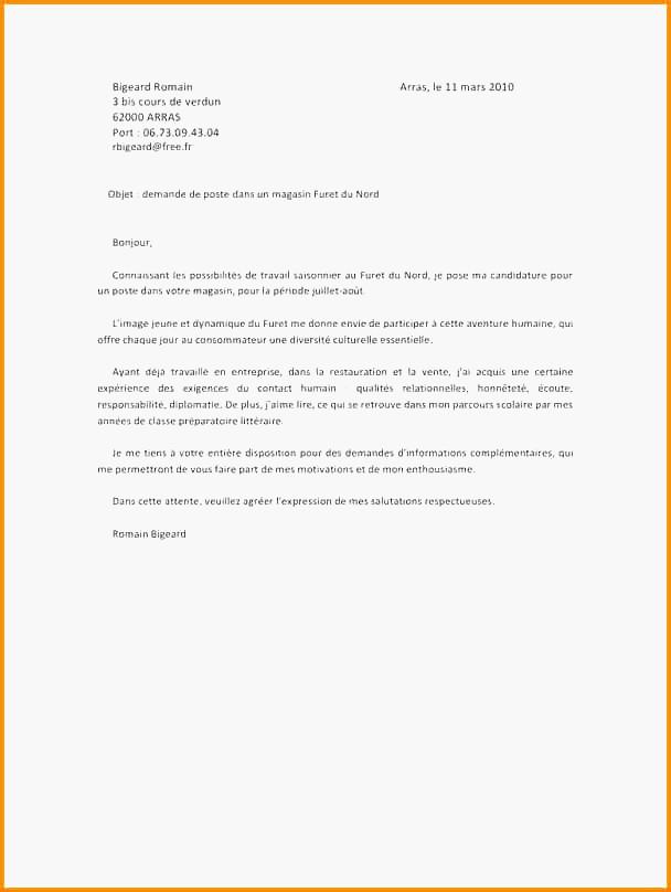 lettre de motivation ayant d u00e9ja travaill u00e9 dans l