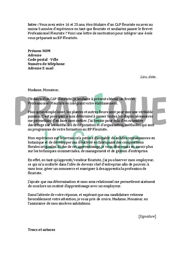 lettre de motivation pour contrat pro