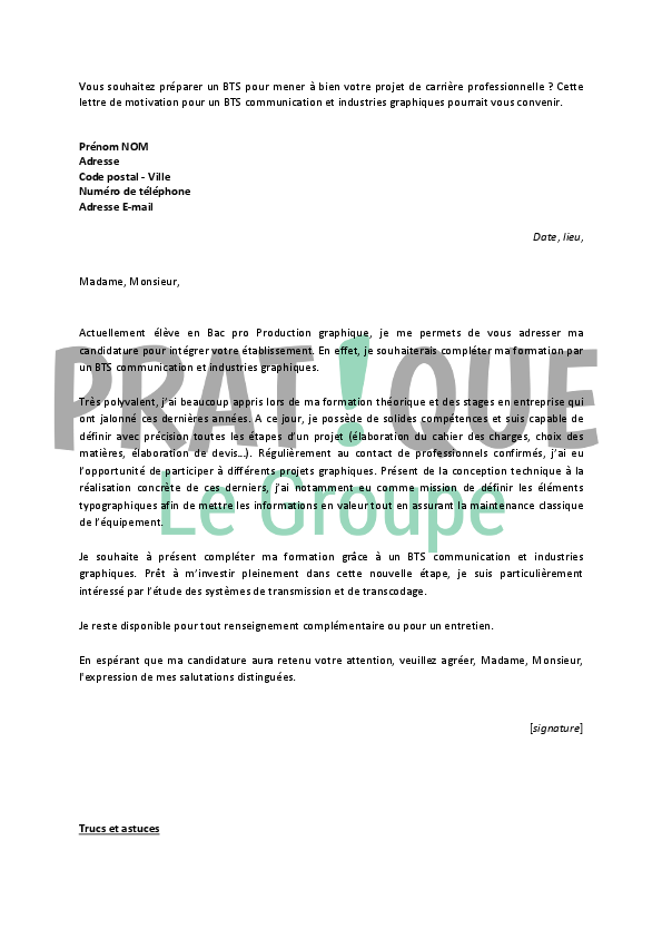Bts communication lettre de motivation - laboite-cv.fr