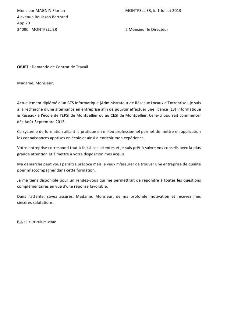 lettre de motivation pour contrat en alternance