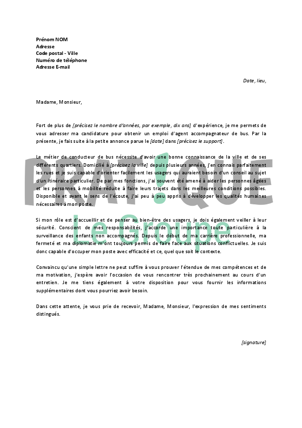 lettre motivation conducteur de bus