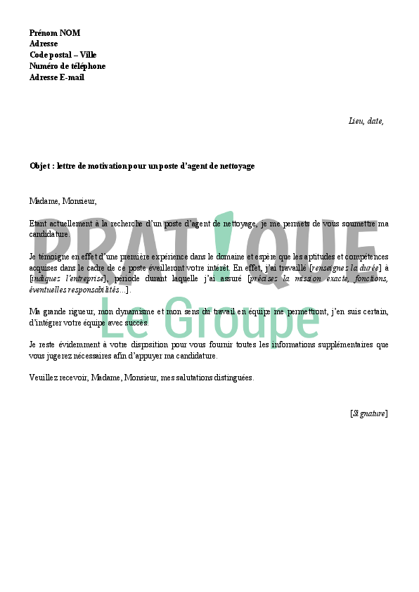 Lettre De Motivation Agent D Entretien Sans Experience Laboite Cv Fr
