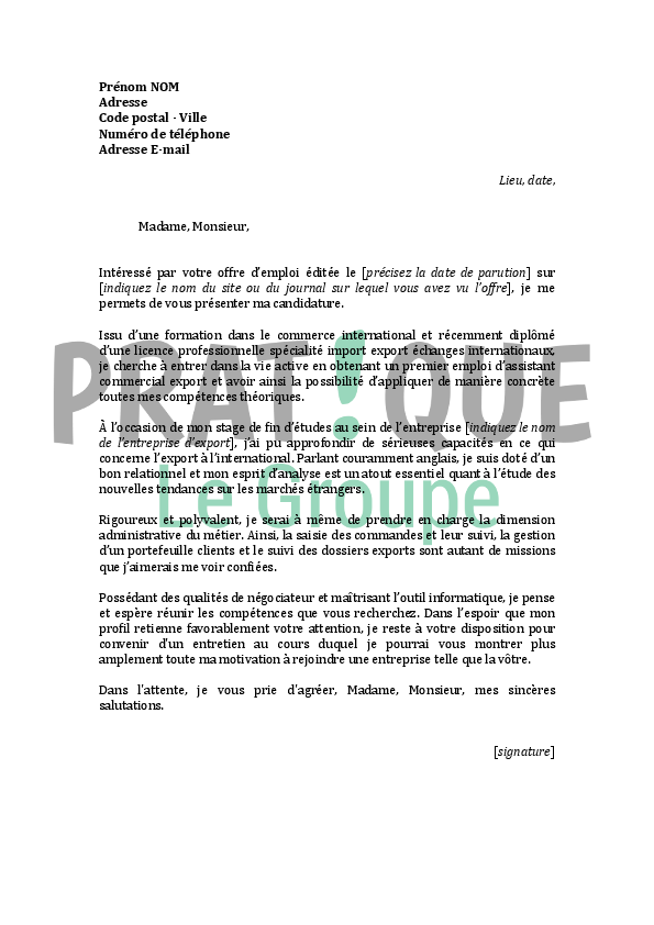 lettre de motivation stage commerce international