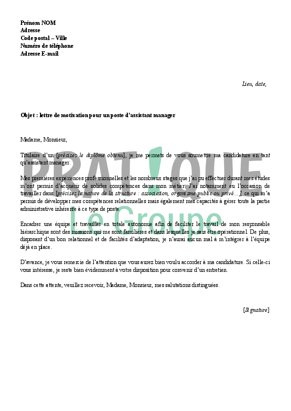 lettre de motivation assistant administration des ventes