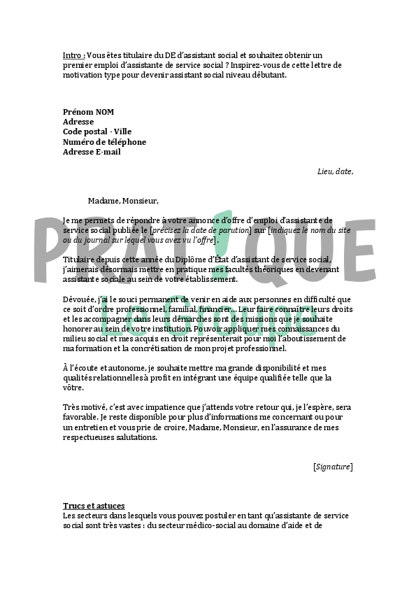 lettre de motivation medico social