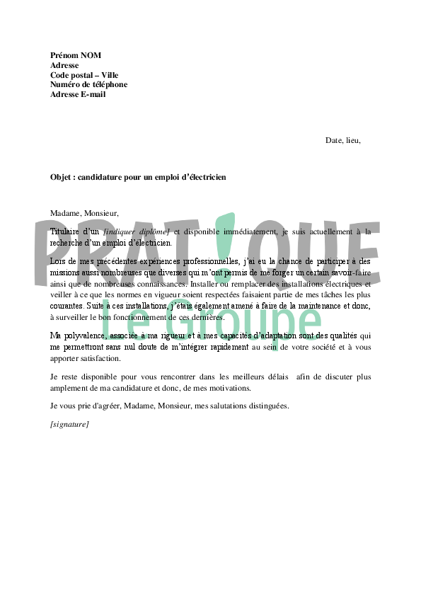 lettre de motivation electrotechnicien