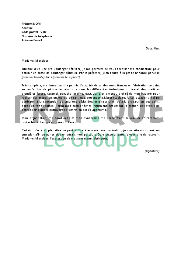 lettre de motivation pour patissier