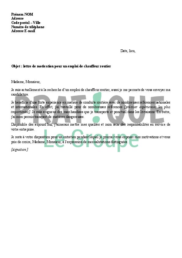 lettre de motivation titre professionnel conducteur