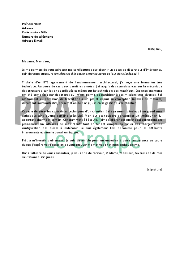 lettre de motivation architecte d u0026 39 int u00e9rieur