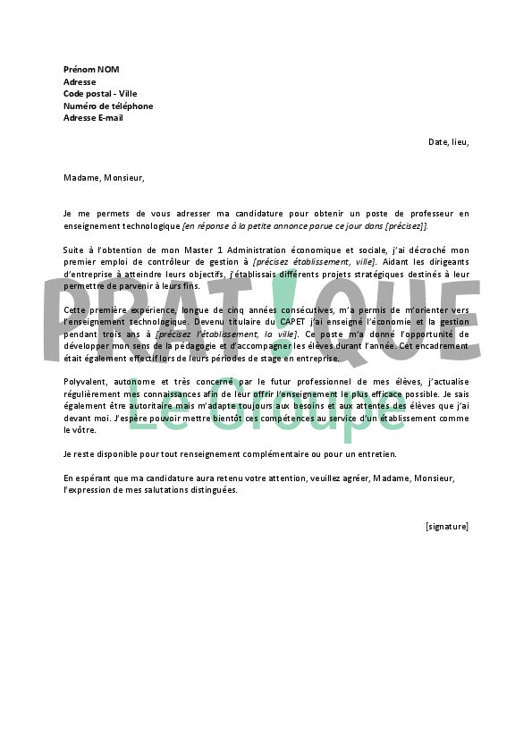 lettre de motivation enseignant contractuel debutant