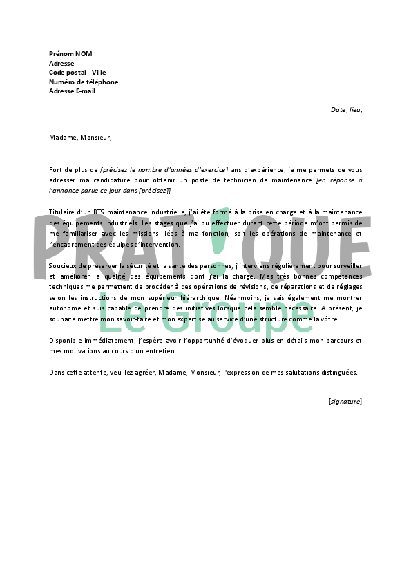 lettre de motivation technicien maintenance