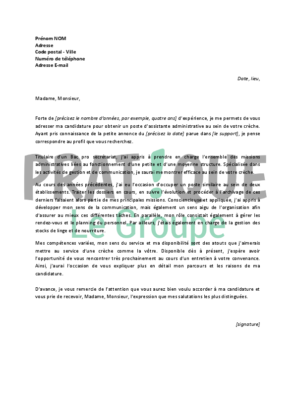 lettre de motivation assistante communication