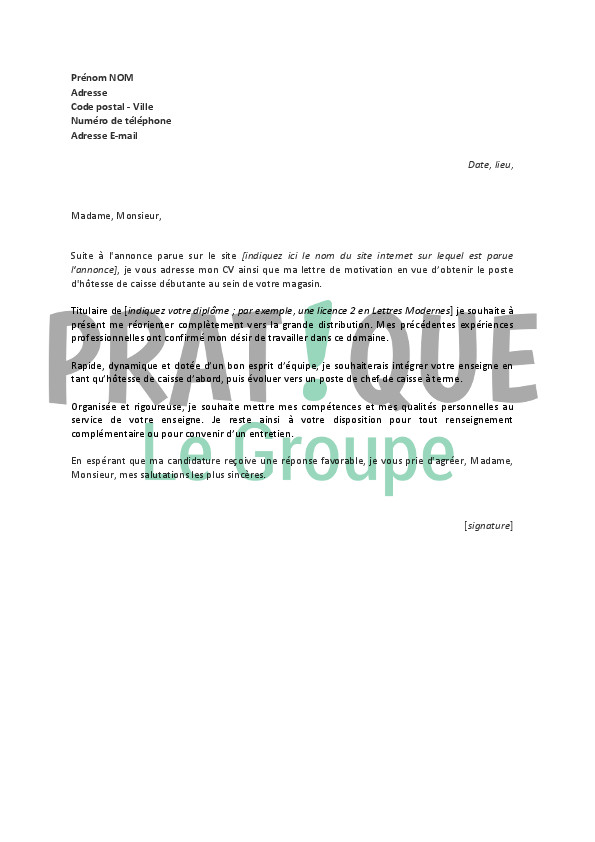 lettre de motivation hotesse de caisse  u00e9tudiant