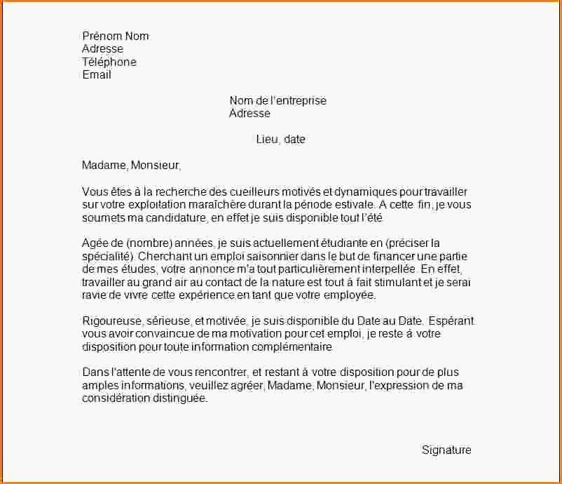 lettre de motivation pour travail