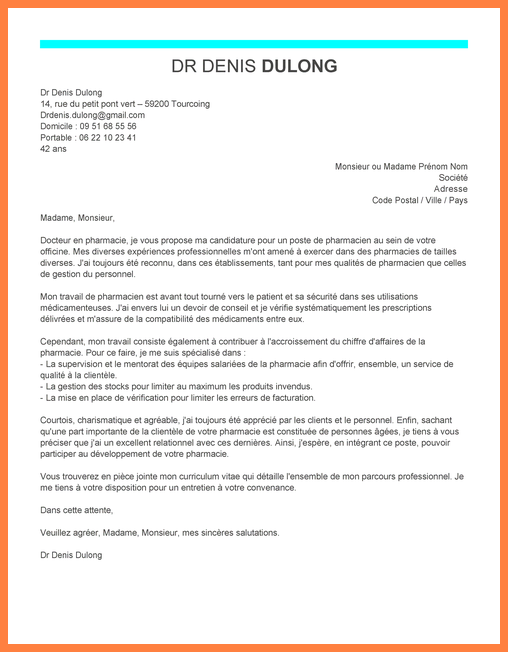 lettre de motivation pr u00e9parateur en pharmacie officine