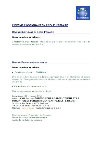 lettre de motivation enseignant suppl u00e9ant