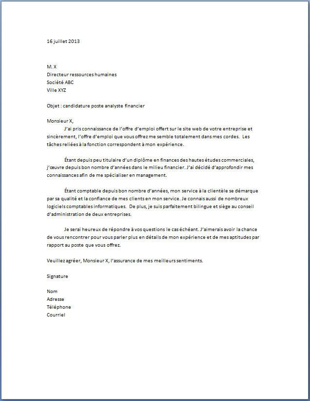 lettre de motivation responsable des services techniques