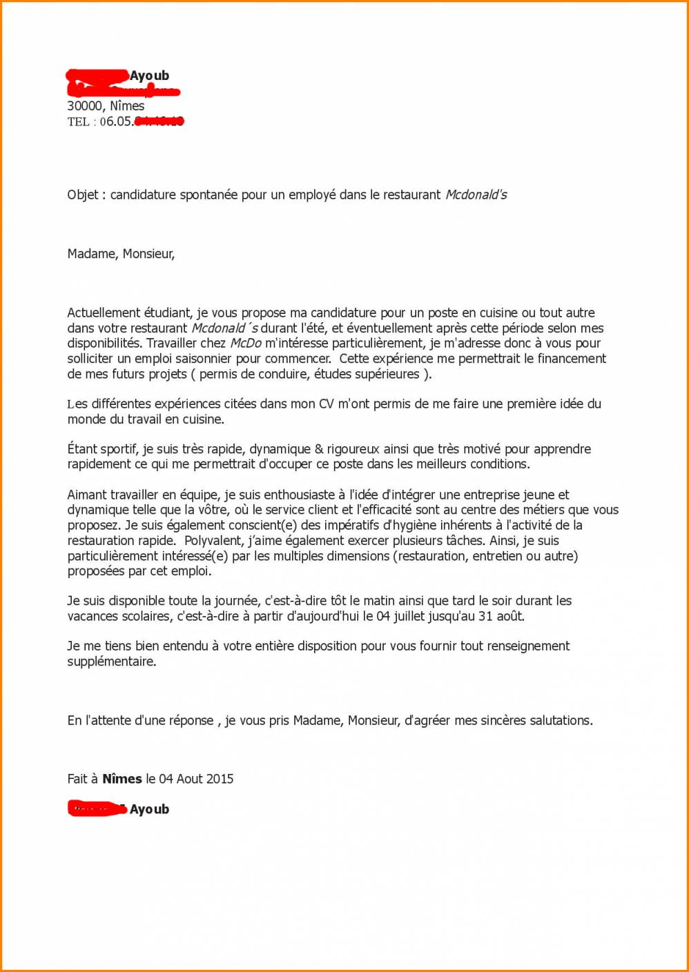 lettre de motivation fast food candidature spontan u00e9e