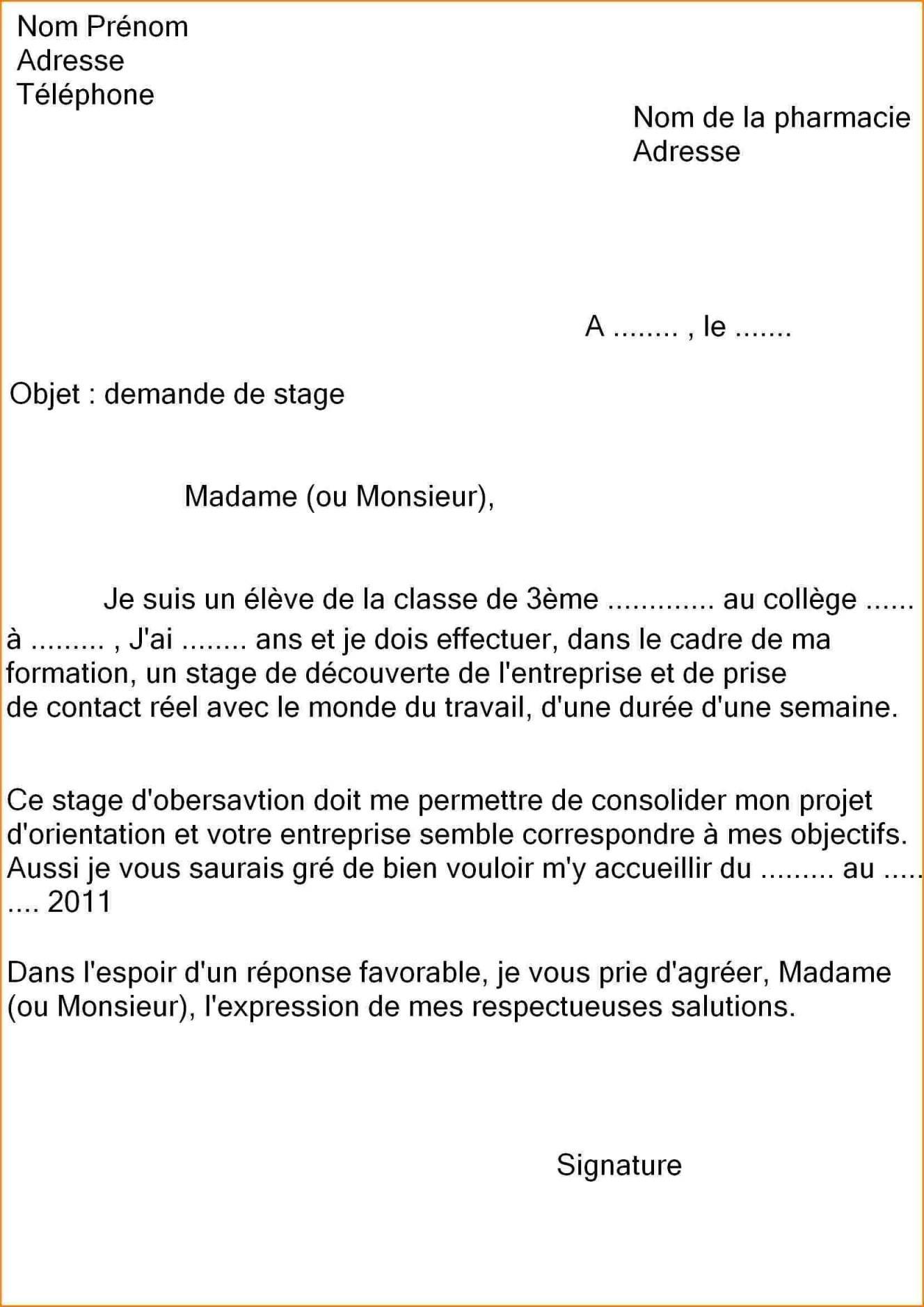 mod u00e8le lettre de motivation stage 3 u00e8me