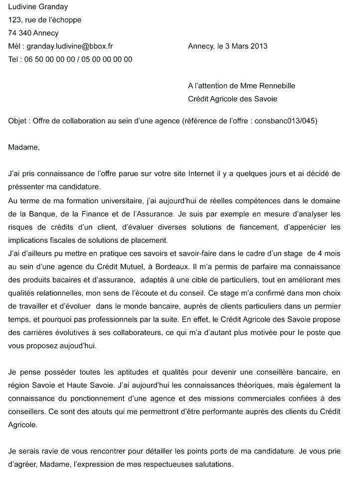 lettre de motivation credit agricole