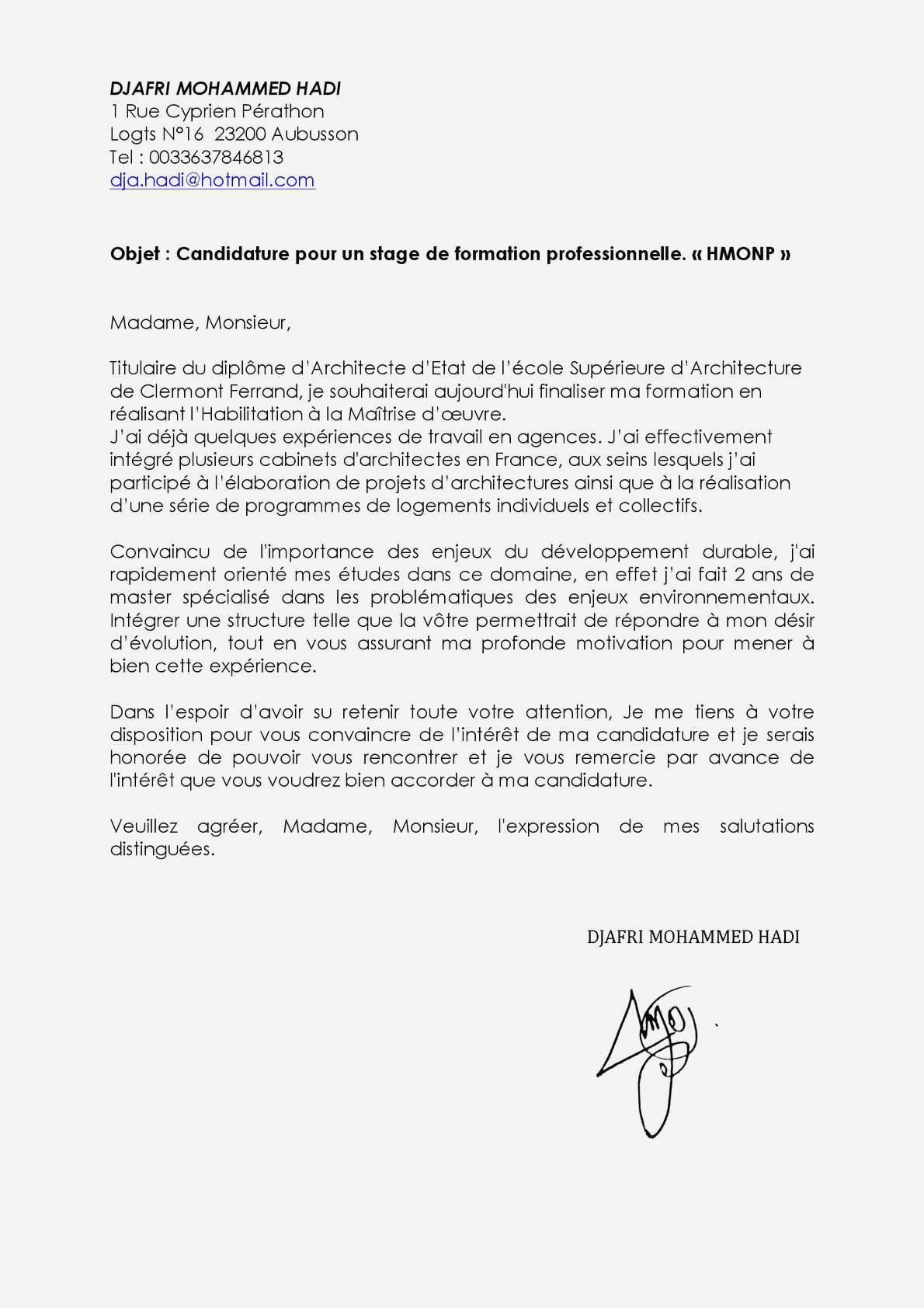 lettre de motivation stage bts notariat