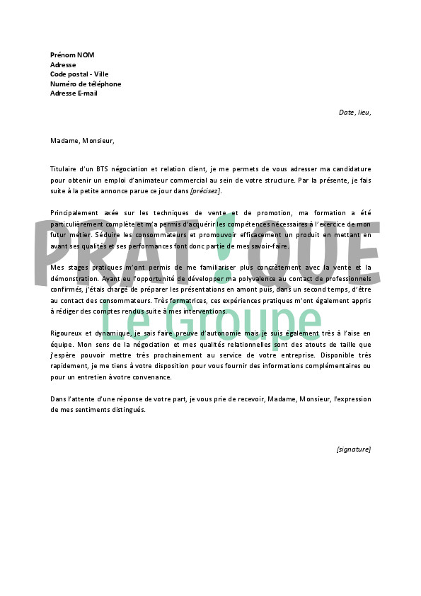 exemple lettre de motivation stage pratique bafa