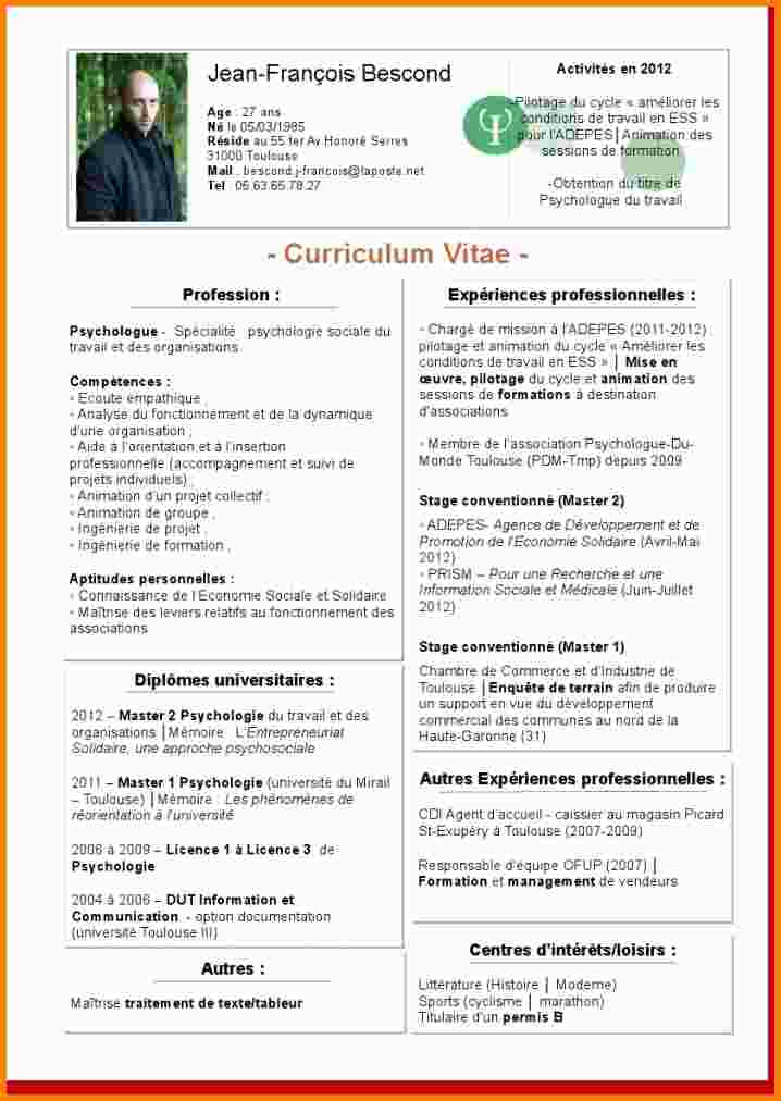 exemple de cv europass psychologue