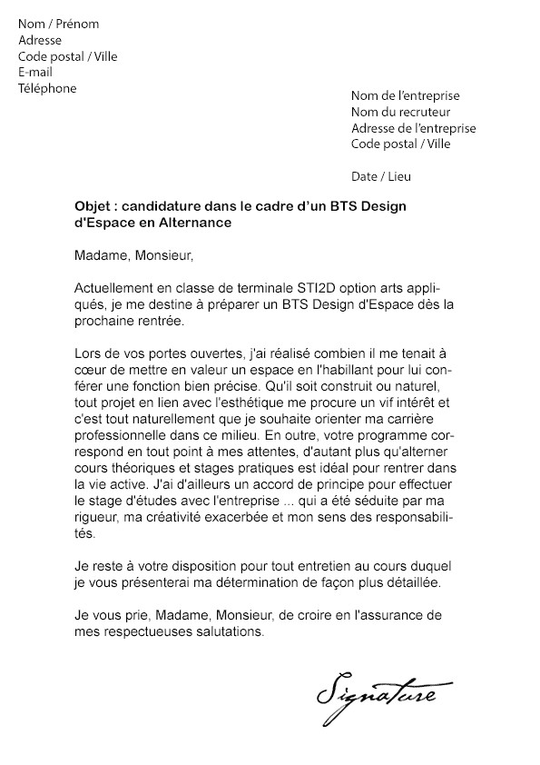 lettre de motivation stage esf