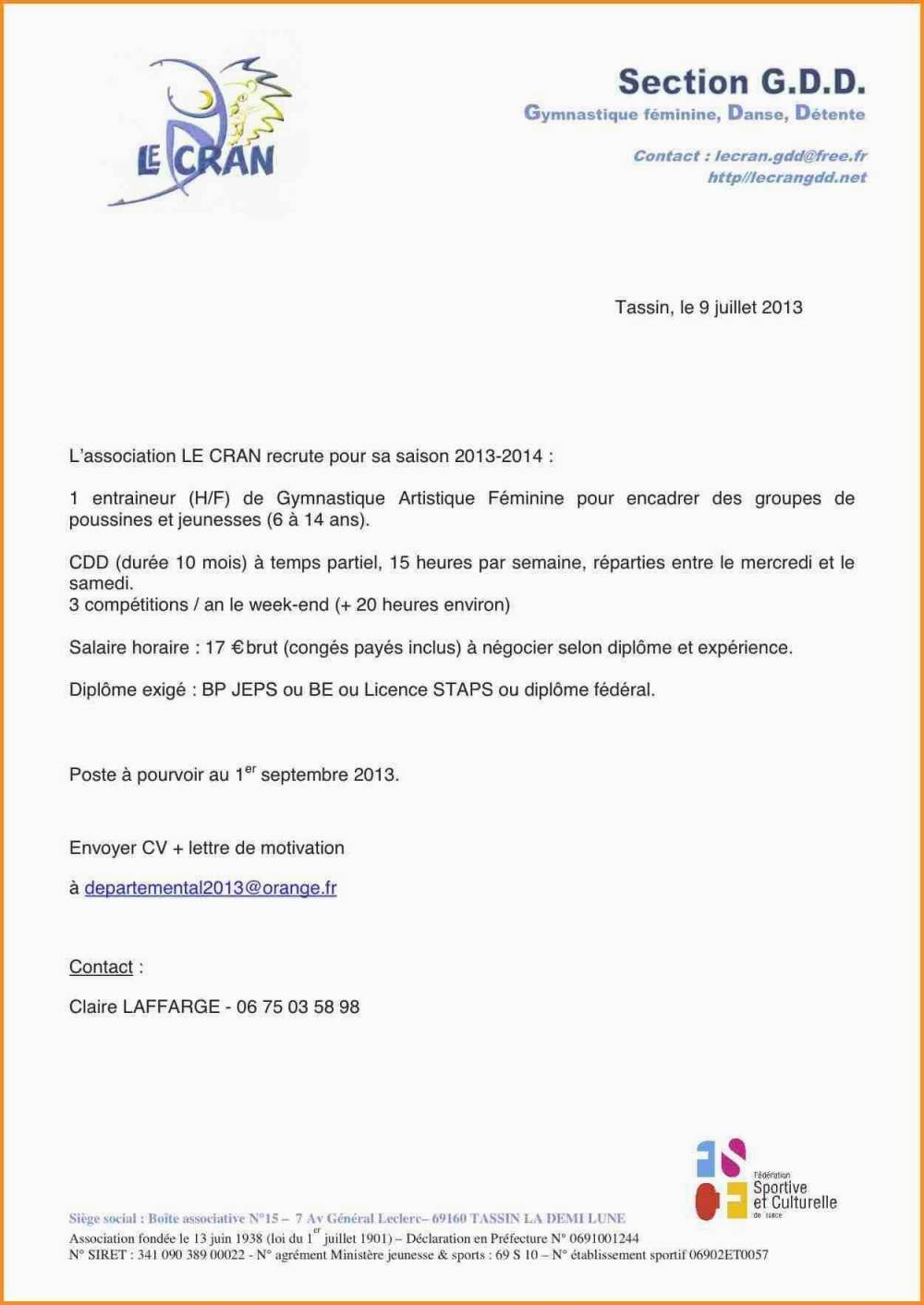 lettre de motivation staps exemple