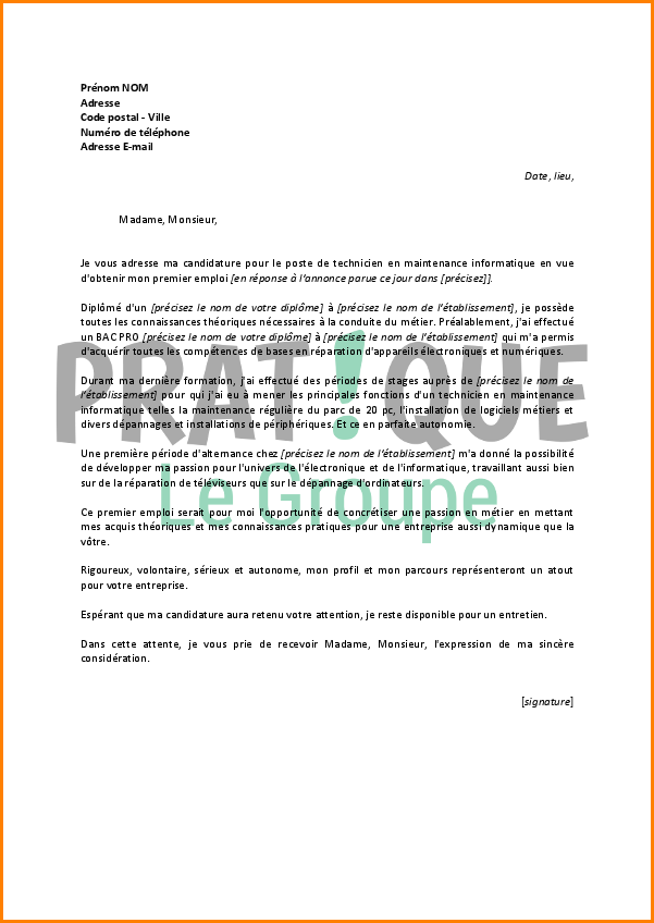 lettre de motivation agent de maintenance industrielle