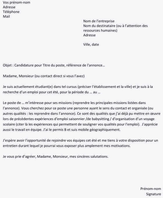 lettre de motivation job d  u00e9tudiant