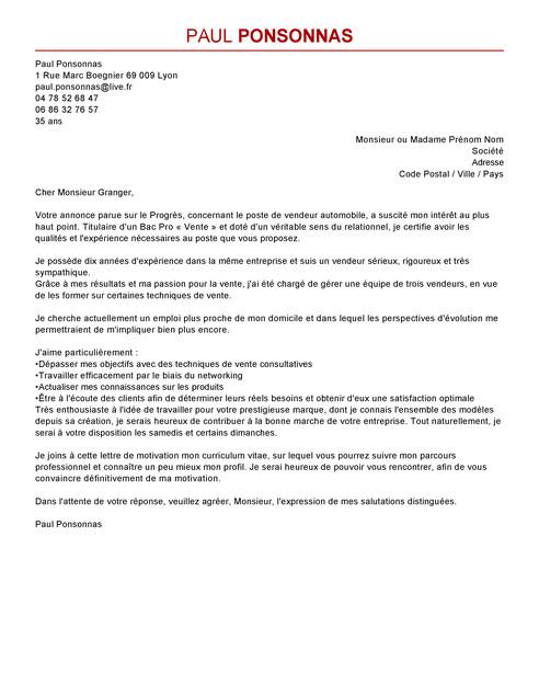 lettre de motivation type vendeur