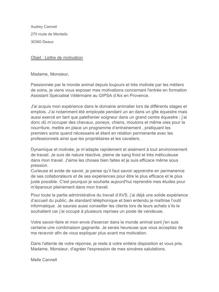 Lettre De Motivation Stage Soigneur Animalier Laboite Cv Fr