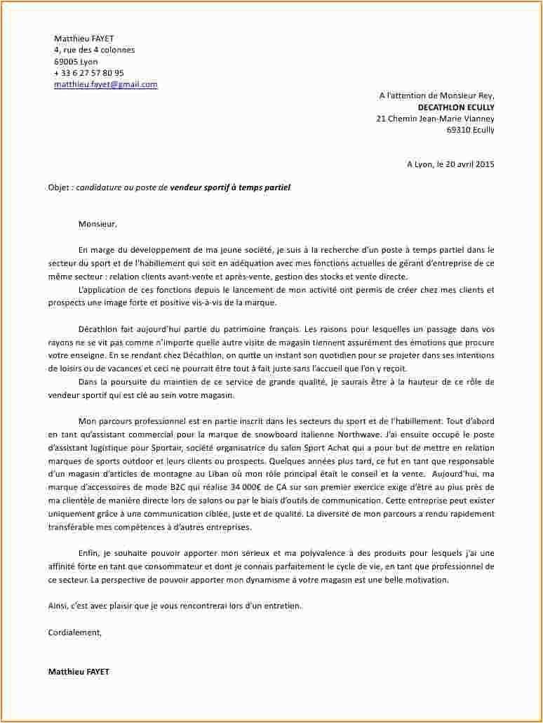 lettre de motivation decathlon vendeur